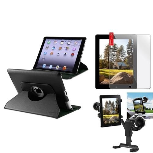 Insten Car Mount Windshield Holder+Black 360 Leather Case+Cover for iPad 2 3 4 Gen (Supports Auto Sleep/Wake)