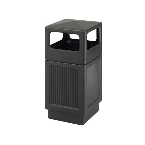 Safco Products 9476BL Canmeleon Recessed Panel Waste Receptacle, Side Open, 38-Gallon, Black [Black]