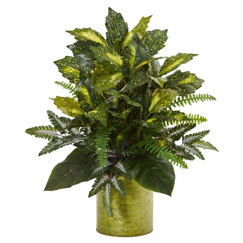 Nearly Natural Mixed Greens Artificial Plant in Green Tin Planter