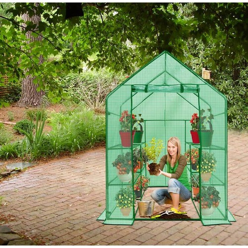 Ogrow Deluxe WALK-IN 2 Tier 8 Shelf Portable Lawn and Garden Greenhouse - Heavy Duty Cover