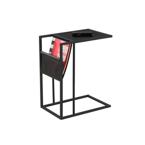 Monarch Metal Side Table with Magazine Rack in Black