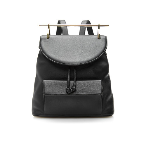 Calf Leather Backpack in Black