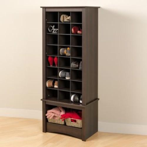 Prepac Tall 24-Shoe Capacity Cubbie Cabinet Tower in Espresso