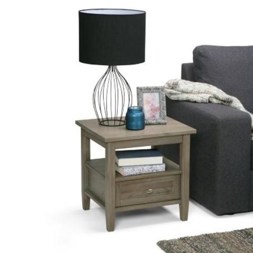 Simpli Home Warm Shaker End Side Table in Distressed Grey (AXWSH002-GR)