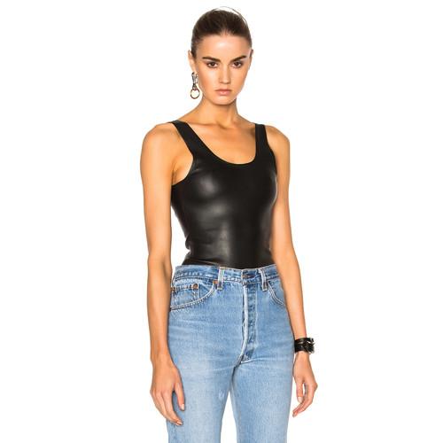 SPRWMN Leather Bodysuit in Black