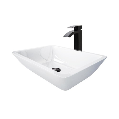 VIGO Phoenix Stone Vessel Sink in White With Duris Vessel Faucet in Matte Black