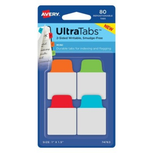 Avery Mini Ultra Tabs, Repositionable, Writable-2 Sides, 1
