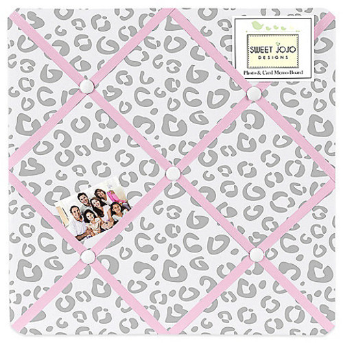 Sweet Jojo Designs Kenya Fabric Memo Board in Pink and Grey
