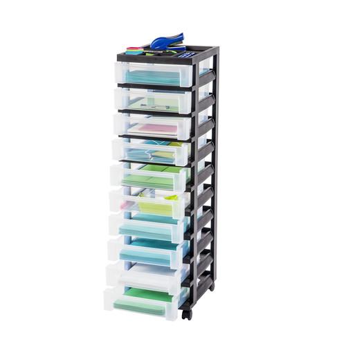 Iris 10-Drawer Storage Cart with Organizer Top Black