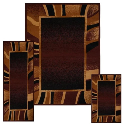 Home Dynamix Area Rugs: Ariana Rug: 7542 Modern Striped Bordered Brown: 3 Piece Set