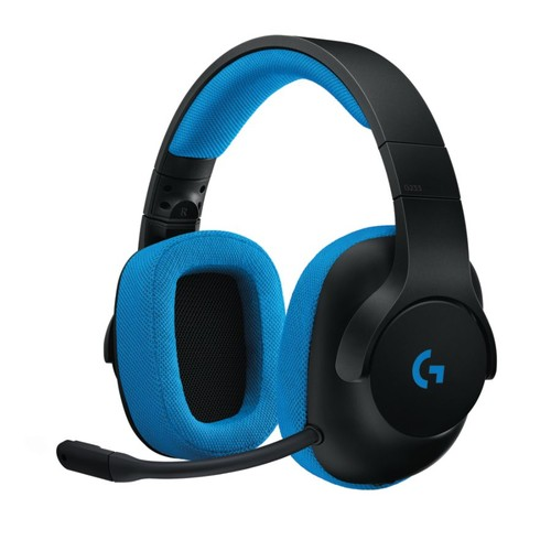 Logitech G233 Prodigy Over-The-Ear Gaming Headset, Black/Cyan, 981-000701