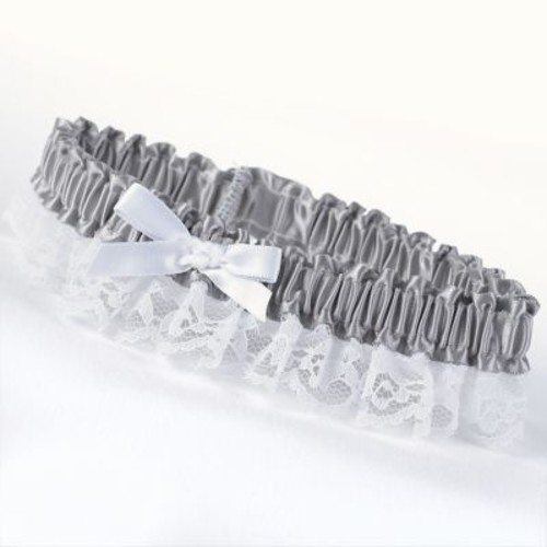 HBH Petite Garter With White Bow and Delicate Lace Trim, Platinum