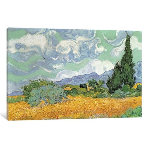 iCanvas 'Wheatfield with Cypresses, 1889 ' by Vincent van Gogh Canvas Print