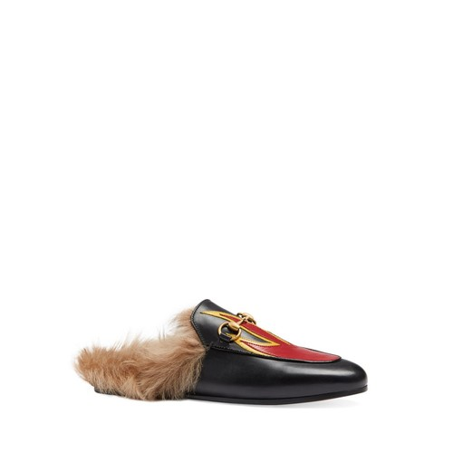 GUCCI Princetown Leather And Lamb Fur Flame Slippers
