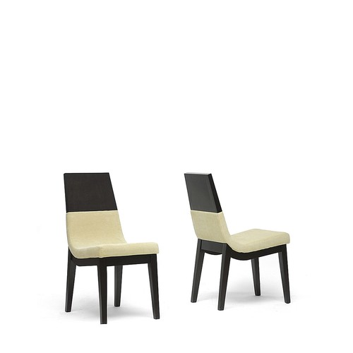Baxton Studio Prezna Dark Brown/ Beige Modern Dining Chairs (Set of 2)