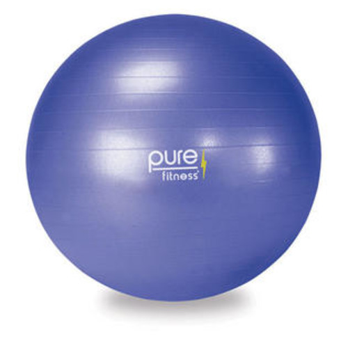Pure Fitness 65 cm Anti-Burst Exercise Ball with Hand Pump and 16-Exercise Fitness Guide