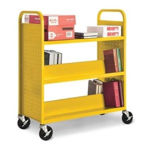 Sandusky Lee SFV336-09 Combination Top Flat Shelf Book Truck, 19