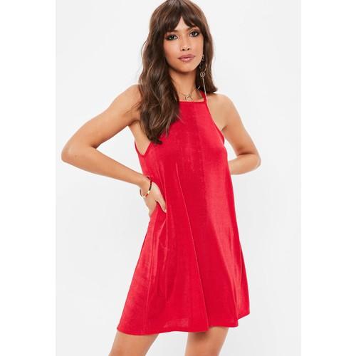 Red Racer Neck Swing Dress