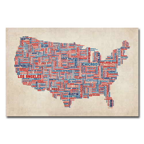 Trademark Global Michael Tompsett 'US Cities Text Map V' Canvas Art [Overall Dimensions : 16x24]