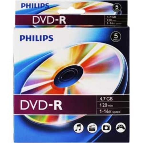 Philips DVD-R 16x 4.7GB 120MIN - 5 Pack