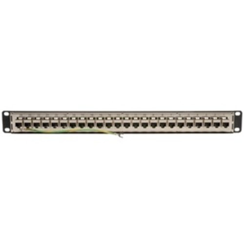 24-Port 1U Rackmount STP Shielded Cat6 / Cat5 Feedthrough Patch Panel, RJ45 Ethernet