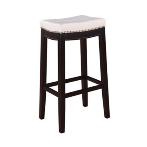 Linon Claridge Patches Vinyl Bar Stool, White