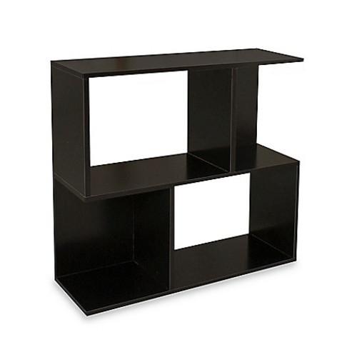 Way Basics Tool-Free Assembly zBoard paperboard 2-Shelf Soho Bookcase in Black Wood Grain
