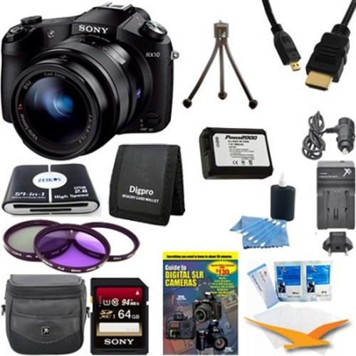 Sony Cyber-shot DSC-RX10 Digital Camera 64 GB SDHC Card, Battery, and Tripod Bundle