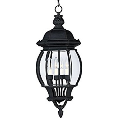 Maxim 1039BK Crown Hill 4-Light Outdoor Hanging Lantern, Black Finish, Clear Glass, CA Incandescent Incandescent Bulb , 60W Max., Dry Safety Rating, Standard Dimmable, Frosted Glass Shade Material, Rated Lumens [Black]