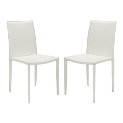 Safavieh Ken Iron and Leather Kd Dining Chair in White (set of 2)