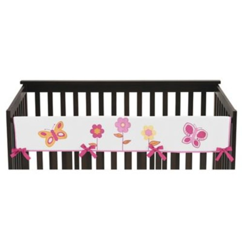 Sweet Jojo Designs Butterfly Long Crib Rail Guard Cover in Pink/White