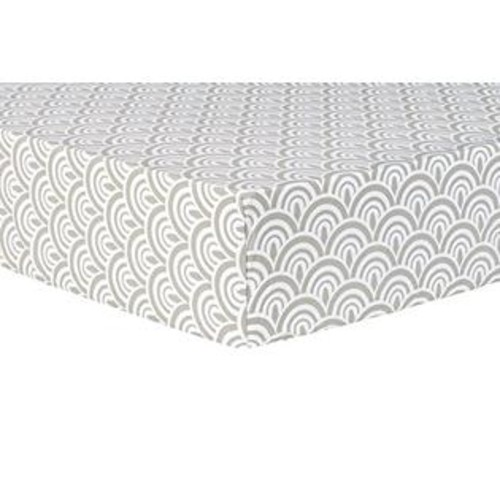 Trend Lab 102680 Art Deco Scallop Fitted Crib Sheet - Gray & White
