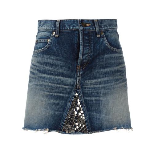 SAINT LAURENT Metallic Embellished Mini Skirt