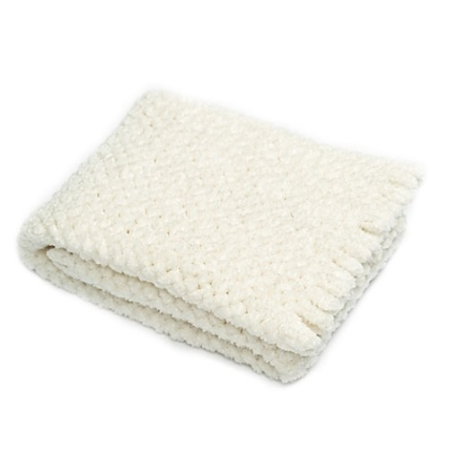 Pashmere Baby Chenille Crib/Stroller Blanket in White