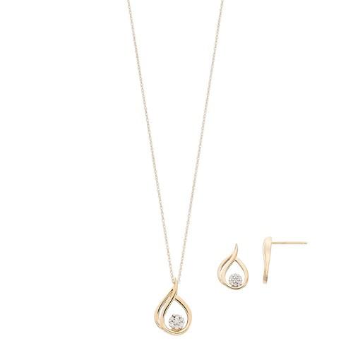 10k Gold 1/10 Carat T.W. Diamond Teardrop Pendant & Earring Set