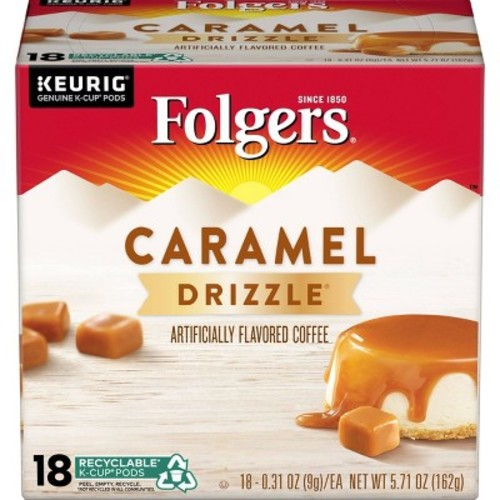 Folgers Gourmet Selections Caramel Drizzle Flavored Coffee K-Cup pods 18ct