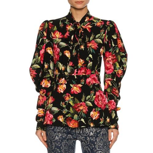 DOLCE & GABBANA Rose-Print Cady Tie-Neck Blouse, Black