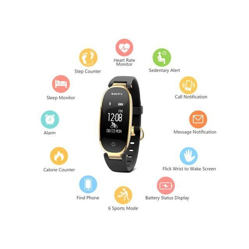 Fitness Tracker, SAVFY Activity Tracker with Heart Rate Monitor, Women Fashion Sports Tracker Sleep Monitor Waterproof Smart Bracelet