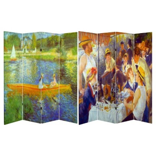 6 ft. Tall Double Sided Works of Renoir Room Divider The Seine/The Luncheon - Oriental Furniture