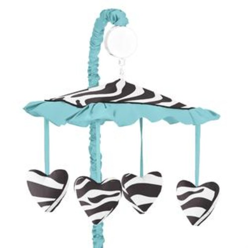 Sweet Jojo Designs Turquoise Funky Zebra Collection Multicolored Musical Mobile