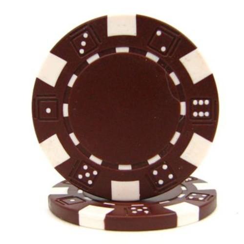 Trademark Poker 11.5g Dice Style Poker Chips, Brown, 100/Set