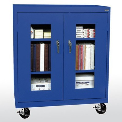 Sandusky Lee TA2V361842-06 Elite Series Transport Mobile Clear View Counter Height Storage Cabinet, Blue