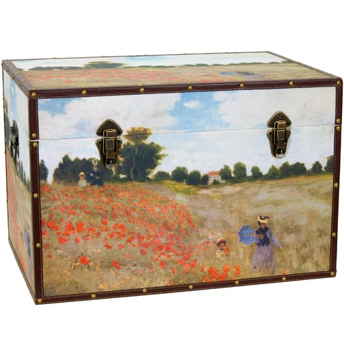 Oriental Furniture Monet's Poppies Trunk