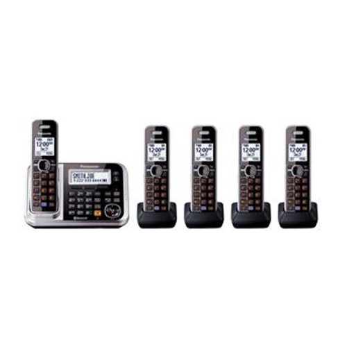 Panasonic KX-TG7875S Link2Cell Bluetooth Cordless Phone with Enhanced Noise Reduction & Digital Answering Machine - 5 Handsets, Black/Silver [KX-TG7875S]