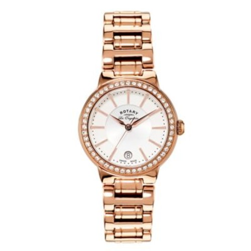 Rotary Les Originales Ladies' 34mm Lucerne Stone Bracelet Watch in Rose Gold-Plated Stainless Steel