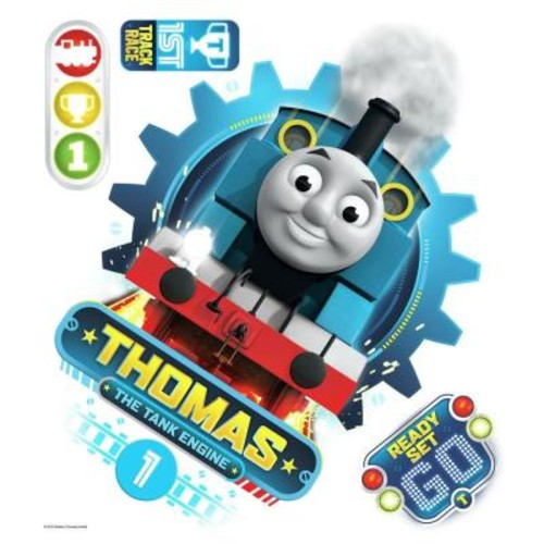RoomMates 5 in. x 19 in. Thomas the Tank Engine 4-Piece Peel and Stick Wall Decal