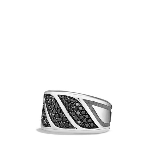 Graphic Cable Band Ring with Black Diamonds
