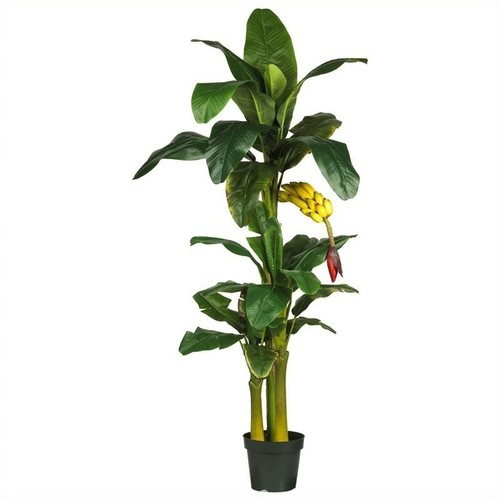 Nearly Natural 6' Triple Stalk Banana Silk Tree in Green