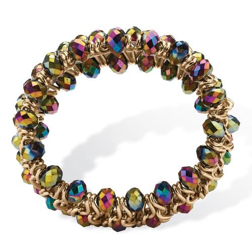 PalmBeach Jewelry Round Mystic Crystal Curb-Link Chain Stretch Bracelet in Gold Tone 8