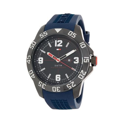 Men's Round Silicone Strap Watch, 46mm